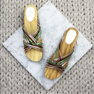 Urban Outfitters Metallic Wooden Clog Sandals